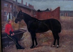 Bay Horse With Army Officer-19th century,oil, old master.landscape painting