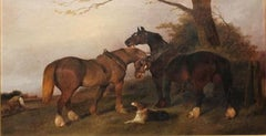 Plough Team Horses And A Dog In A Landscape- Oil,landscape painting,old master