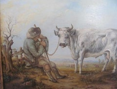 19th Century , Farmer, Bull - Country Landscape, painting oil,After Cuyp