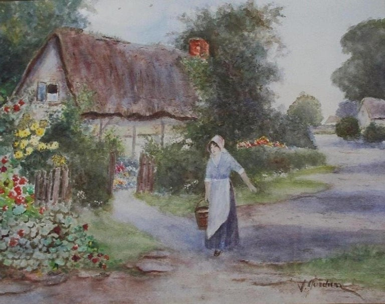 19th century English school Landscape Painting - Warwickshire Country Cottage - watercolour, 19th century,  landscape