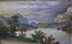 19th century oil mountain/lake- landscape  scene manner de breanski