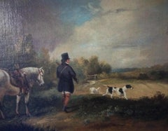 Gentleman, Horse, dogs, Shooting,hunting, Country Scene - 19th century,landscape