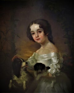 Portrait of a girl  with  two dogs, 19th century, After Sir William Beechey