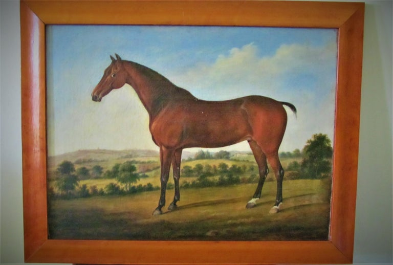 Horse in landscape, 18th century, circle George Stubbs, oil, old master - Old Masters Painting by Circle of George Stubbs (1724-1806)