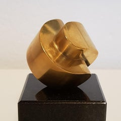 Strength - contemporary modern abstract geometric miniature brass sculpture