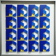 MG902 - contemporary modern abstract geometric film on glass painting relief