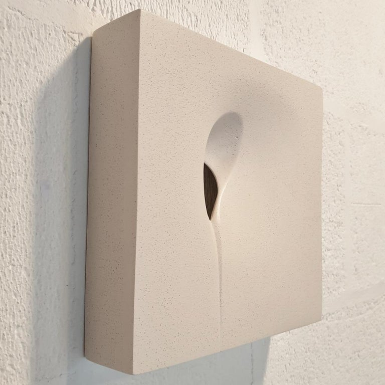 """""""The Space inside"""" is a small size contemporary modern wall object by UK artist Mari-Ruth Oda. Made from Jesmonite, a fine art composite material based on acrylic resin, fiberglass, gypsum and stone, the wonderful smooth surface of this object"""