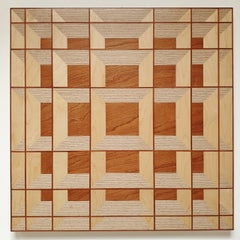 Grid 20-01 - contemporary modern abstract geometric wood veneer painting object