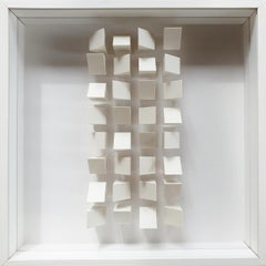 Pfahl 1a - Klaus Staudt white contemporary modern abstract geometric wall relief
