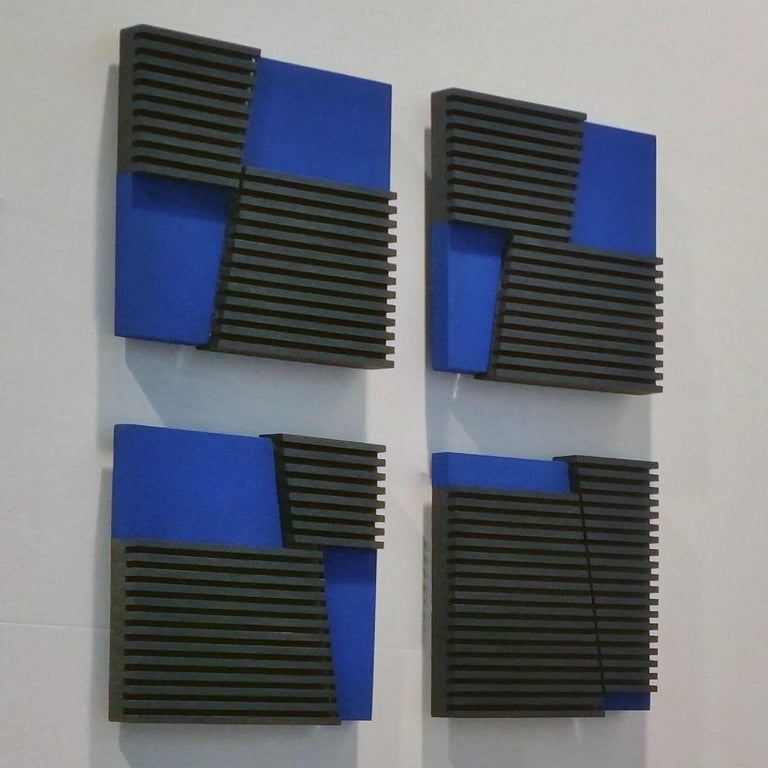 Intersection III - contemporary modern geometric sculpture painting relief For Sale 1