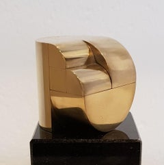Double connection - contemporary modern geometric miniature brass sculpture