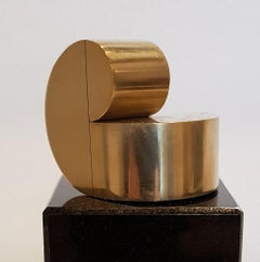 Madonna (left) - contemporary modern geometric miniature brass sculpture