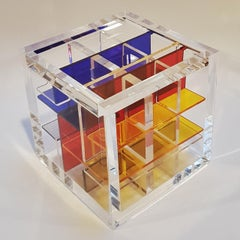 Homage to De Stijl - contemporary modern abstract geometric cube sculpture