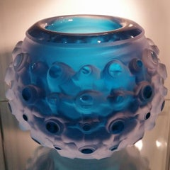 Byzantium Blue Granate - contemporary modern abstract glass vessel object