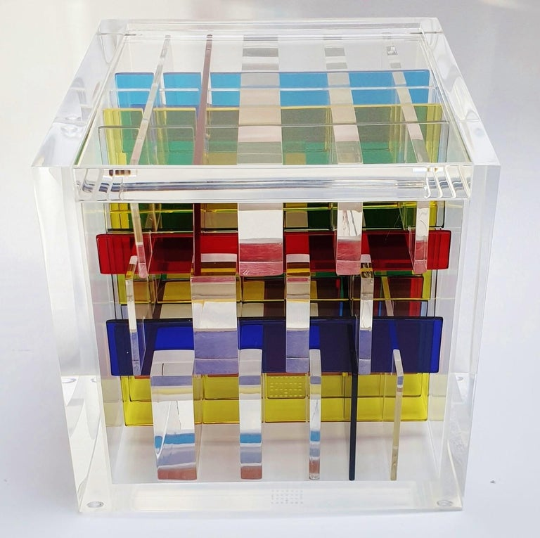 Boogie-woogie - contemporary modern abstract geometric cube sculpture For Sale 1