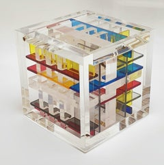 New York City - contemporary modern abstract geometric cube sculpture