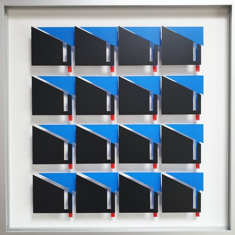 Let de Kok Abstract Painting - MG811 - contemporary modern abstract geometric film on glass painting relief