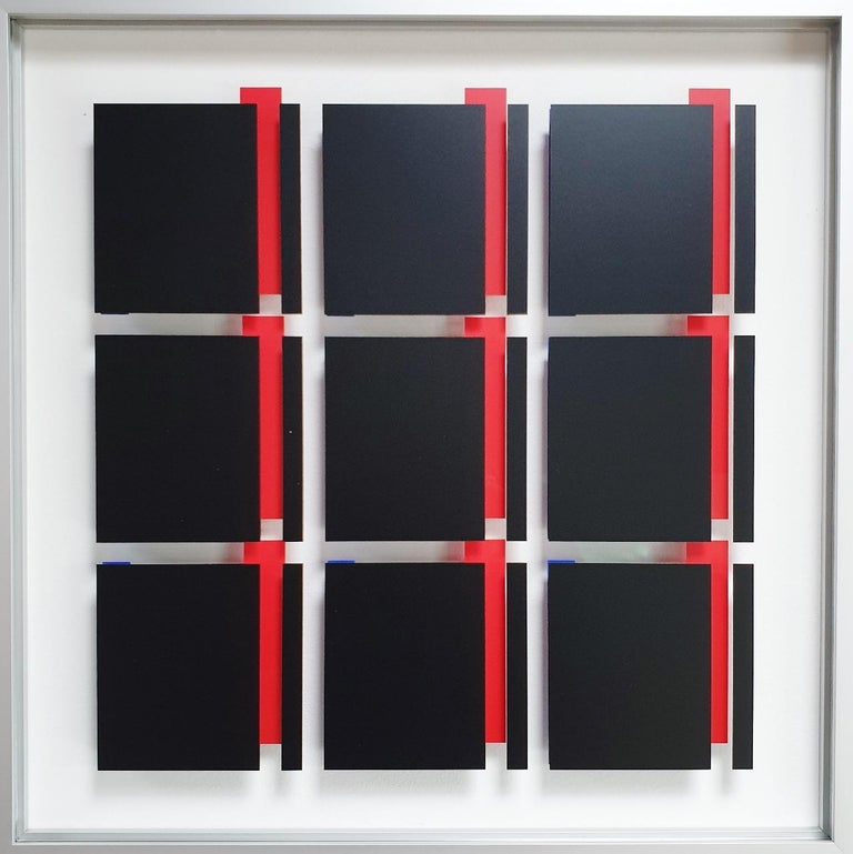 Let de Kok Abstract Painting - MG805 - contemporary modern abstract geometric film on glass painting relief