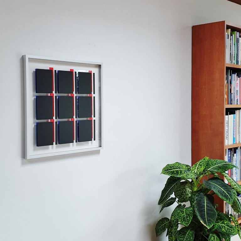 MG805 - contemporary modern abstract geometric film on glass painting relief - Painting by Let de Kok