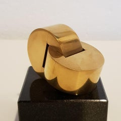 Inescapable - contemporary modern abstract geometric miniature brass sculpture