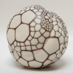 Kokon gemustert - contemporary modern abstract organic ceramic sculpture object