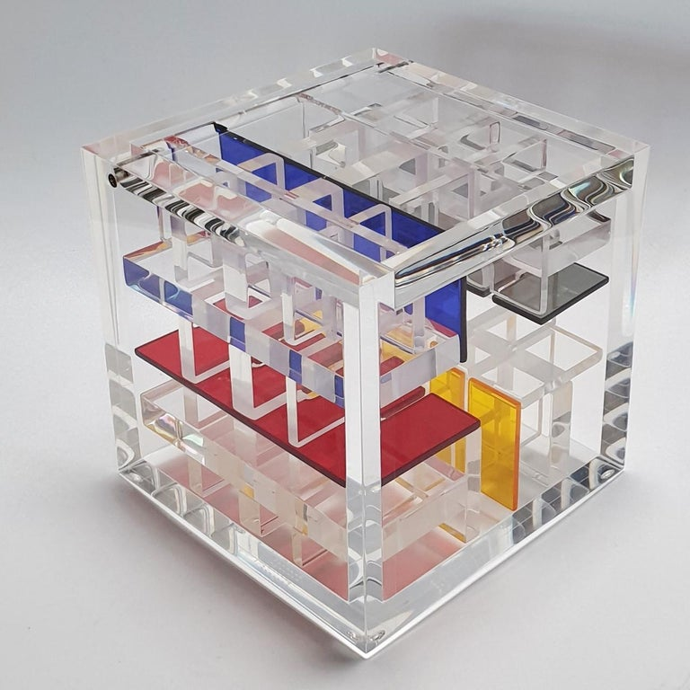 Homage to De Stijl - contemporary modern abstract geometric cube sculpture - Contemporary Sculpture by Haringa + Olijve