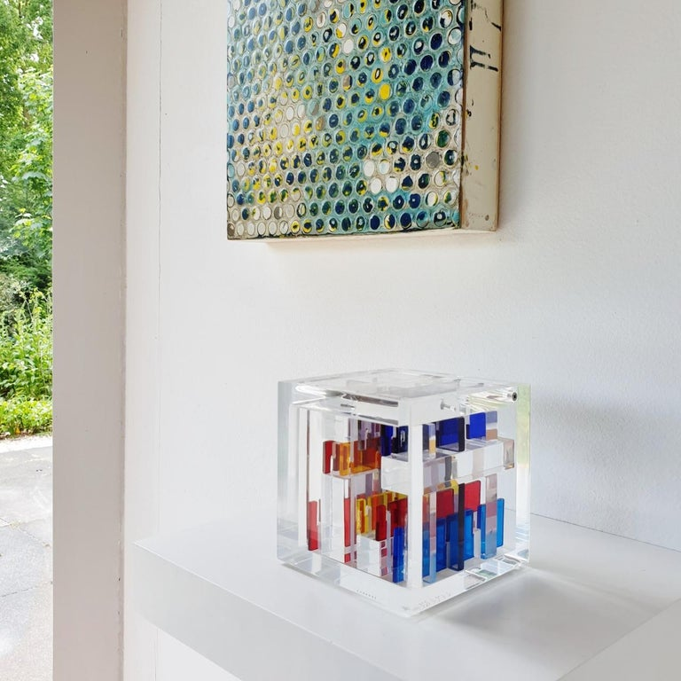 Homage to Mondriaan - contemporary modern abstract geometric cube sculpture - Sculpture by Haringa + Olijve