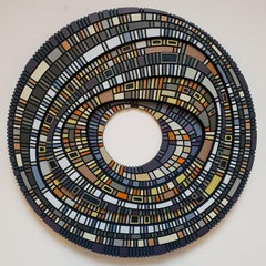 Masterplan #233 - contemporary modern geometric sculpture painting relief