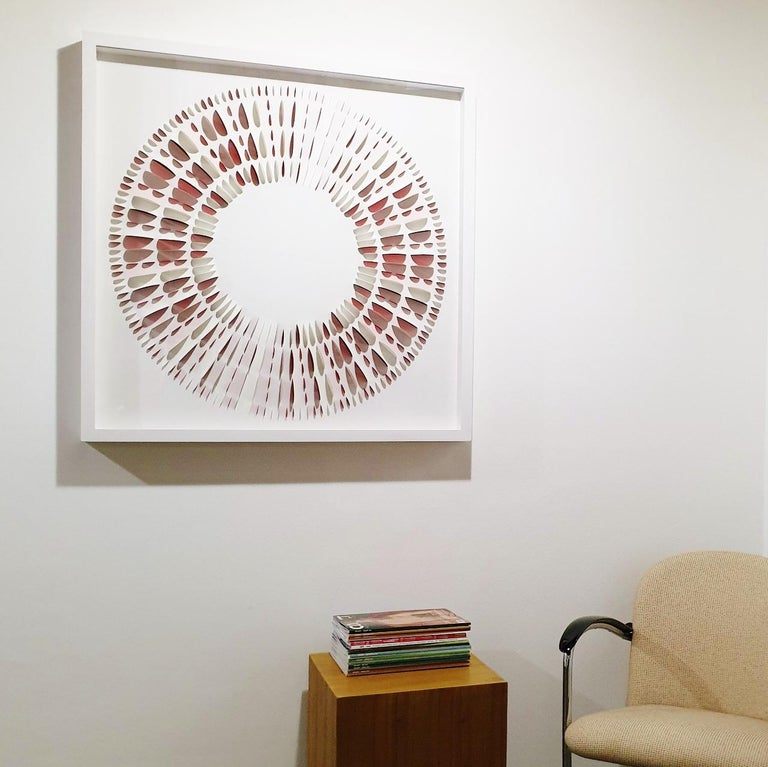 L C B R&W - contemporary modern abstract geometric paper relief painting - Painting by Eliza Kopec