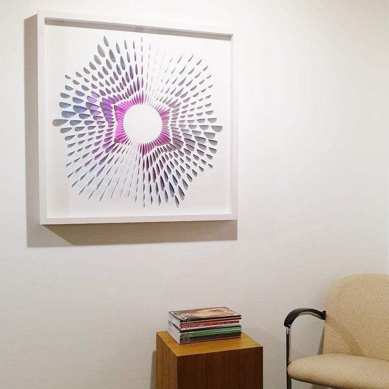 System Circle II - contemporary modern abstract geometric paper relief painting - Painting by Eliza Kopec
