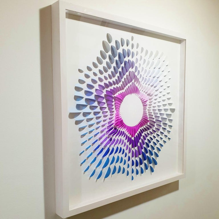 System Circle II - contemporary modern abstract geometric paper relief painting - Contemporary Painting by Eliza Kopec
