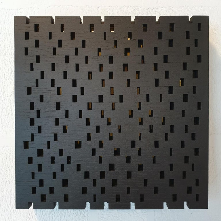 Olivier Julia Abstract Painting - Double rythme I - contemporary modern geometric sculpture painting relief