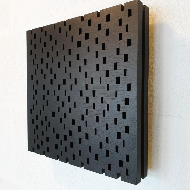 Double rythme I - contemporary modern geometric sculpture painting relief - Brown Abstract Painting by Olivier Julia