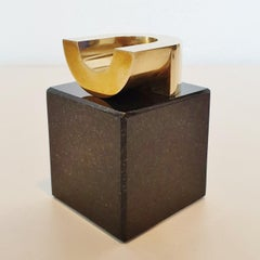 Chair - contemporary modern abstract geometric miniature brass sculpture