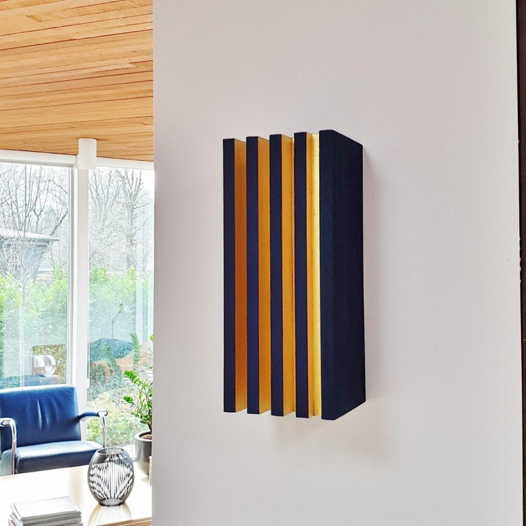 Luminosité verticale - contemporary modern geometric sculpture painting relief - Painting by Olivier Julia