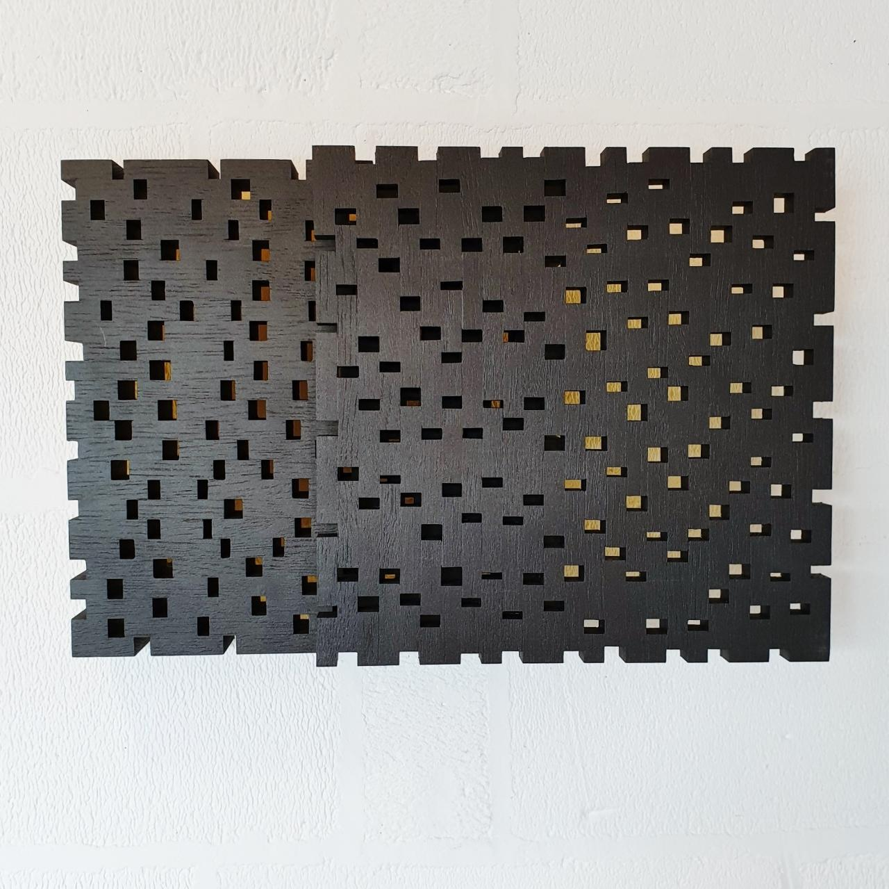 Reflexion ritmique II - contemporary modern geometric sculpture painting relief