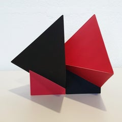 SC1502 red - contemporary modern abstract geometric ceramic object sculpture