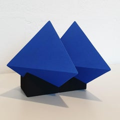 SC1502 blue - contemporary modern abstract geometric ceramic object sculpture