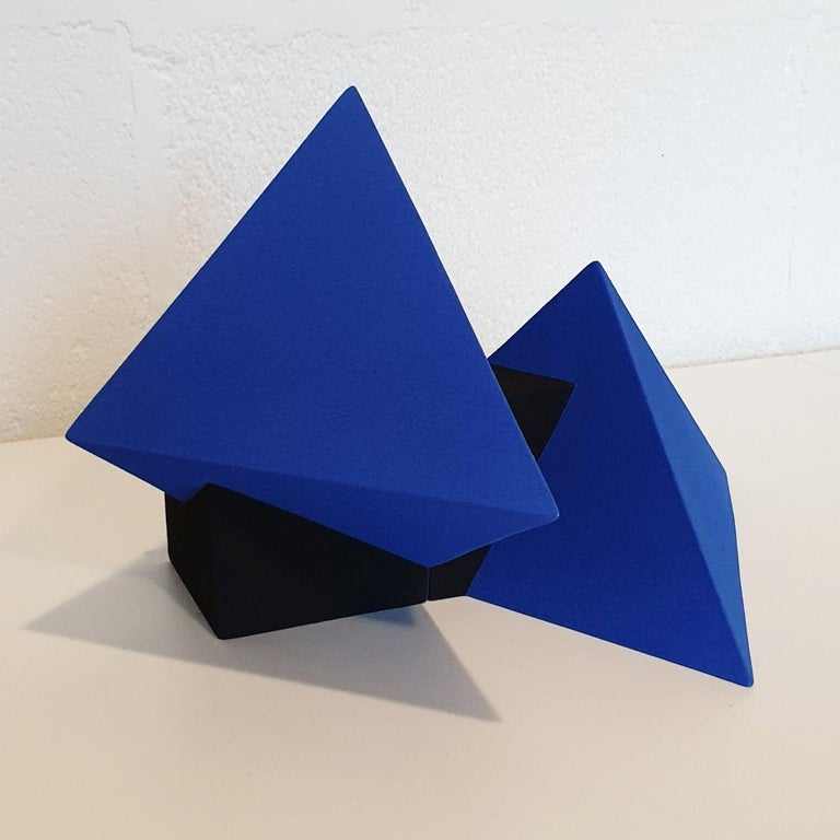 SC1502 blue - contemporary modern abstract geometric ceramic object sculpture For Sale 1