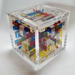 Boogie-woogie - contemporary modern abstract geometric cube sculpture