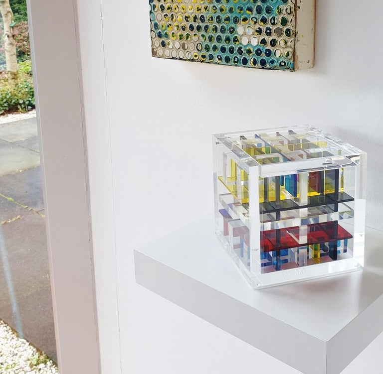 New York City - contemporary modern abstract geometric cube sculpture - Sculpture by Haringa + Olijve