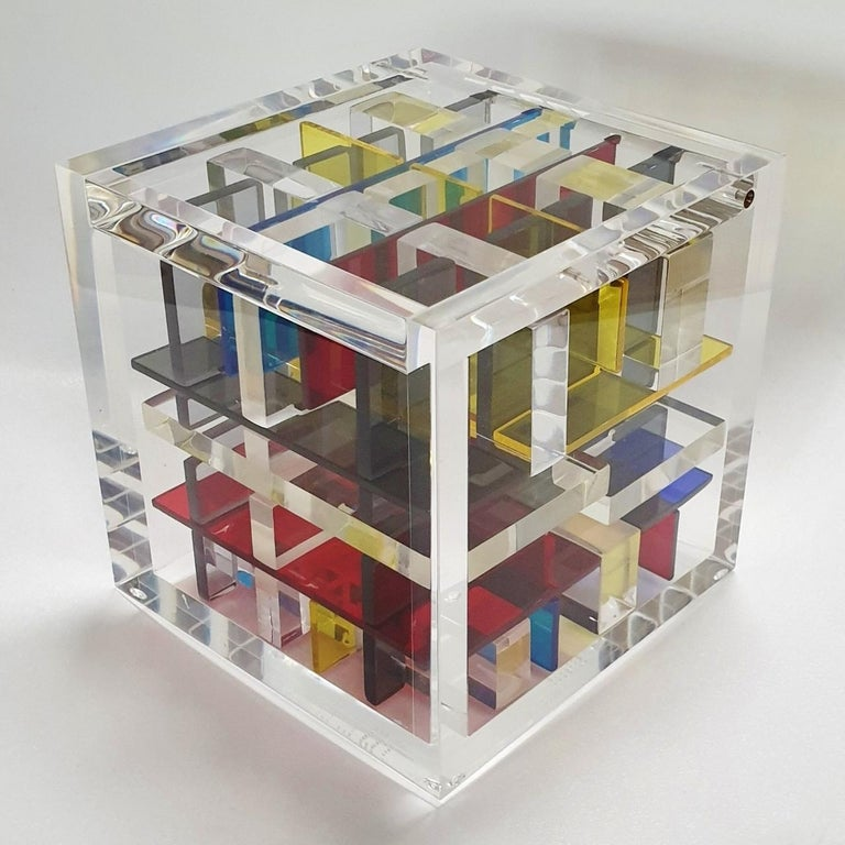 New York City - contemporary modern abstract geometric cube sculpture - Abstract Geometric Sculpture by Haringa + Olijve