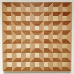 Grid 20-02 - contemporary modern abstract geometric wood veneer painting object