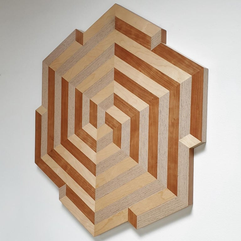 Crossroads (driesprong in Dutch) is a unique medium size contemporary modern abstract geometric wood veneer painting object by Dutch visual artist Hanneke Rijks. This one of a kind object is made of a fiberboard background with a carefully
