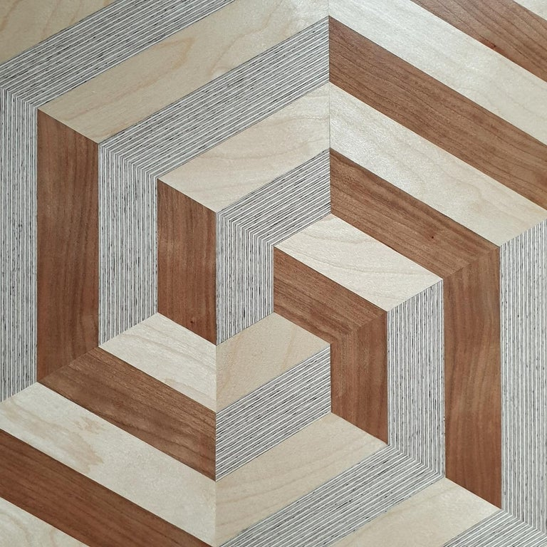 Crossroads - contemporary modern abstract geometric wood veneer painting object For Sale 2