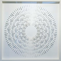 Little White Wave - contemporary modern abstract geometric paper relief painting