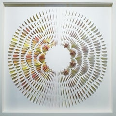 Wave R & Y - contemporary modern abstract geometric paper relief painting