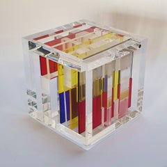 Homage to Mondriaan - contemporary modern abstract geometric cube sculpture