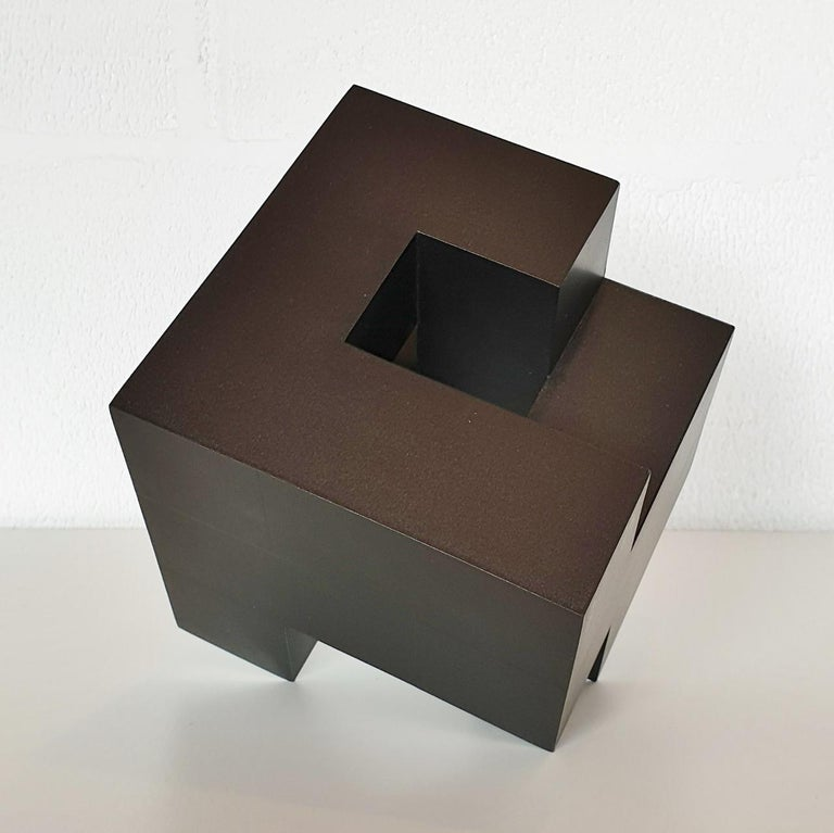 Cube architectural I no. 3/15 - contemporary modern abstract wall sculpture - Brown Abstract Sculpture by Olivier Julia