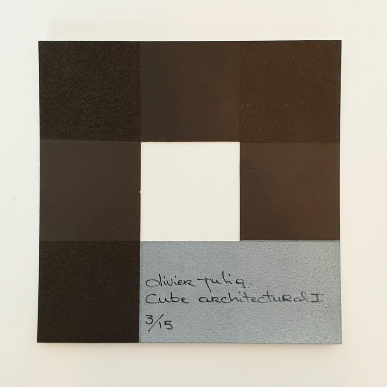 Cube architectural I no. 3/15 - contemporary modern abstract wall sculpture For Sale 2